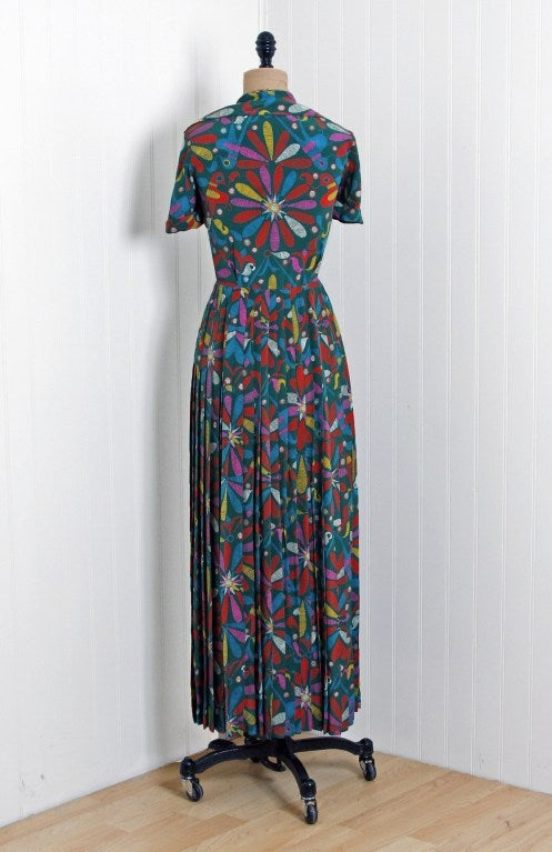 1970's Valentino Colorful Bird-Garden Print Silk Maxi Pleated Dress & Jacket 5