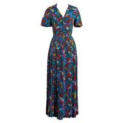 1970's Valentino Colorful Bird-Garden Print Silk Maxi Pleated Dress & Jacket