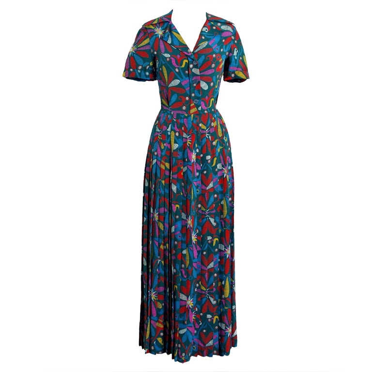 1970's Valentino Colorful Bird-Garden Print Silk Maxi Pleated Dress & Jacket 1