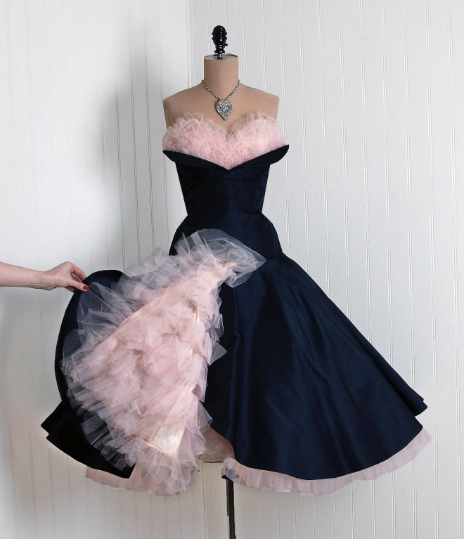 1950's Don Miguel Navy Taffeta Strapless Ruffle Full Party Dress 2