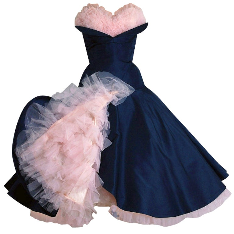 1950's Don Miguel Navy Taffeta Strapless Ruffle Full Party Dress For Sale