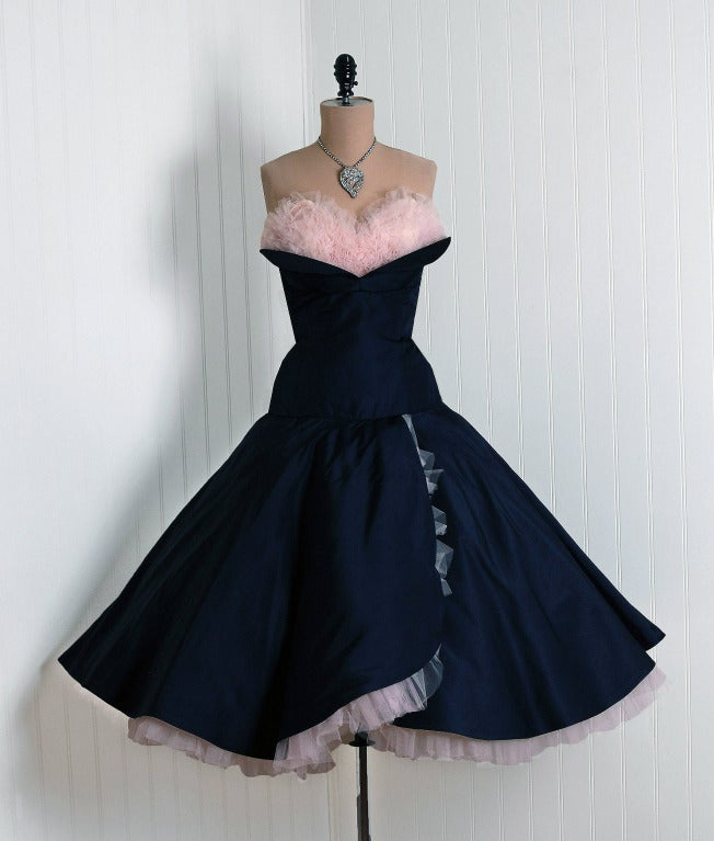 Women's 1950's Don Miguel Navy Taffeta Strapless Ruffle Full Party Dress For Sale