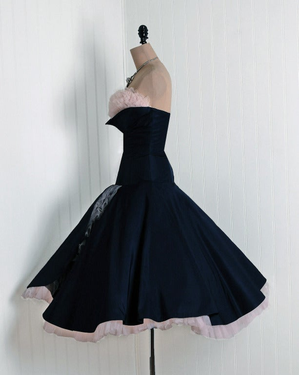 1950's Don Miguel Navy Taffeta Strapless Ruffle Full Party Dress For Sale 2