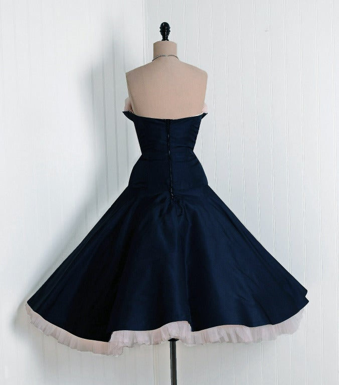 1950's Don Miguel Navy Taffeta Strapless Ruffle Full Party Dress 6