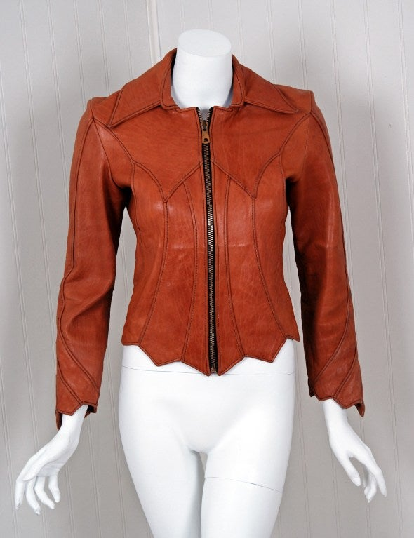 1970's East West Musical Instruments Fitted Sienna-Brown Scallop Leather Jacket 2