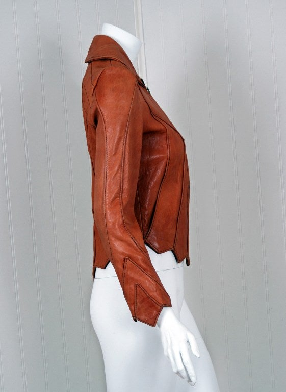 1970's East West Musical Instruments Fitted Sienna-Brown Scallop Leather Jacket 3