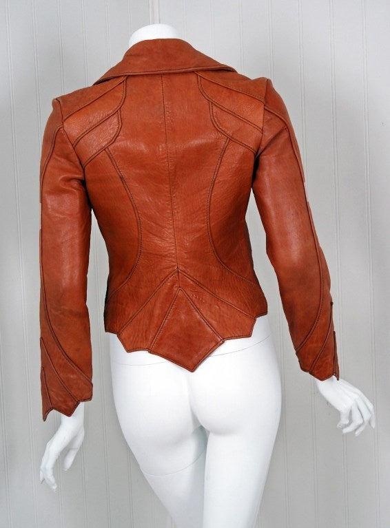 1970's East West Musical Instruments Fitted Sienna-Brown Scallop Leather Jacket 4