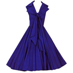 1950's Suzy Perette Cobalt-Blue Pintuck Cotton Sailor-Tie Dress