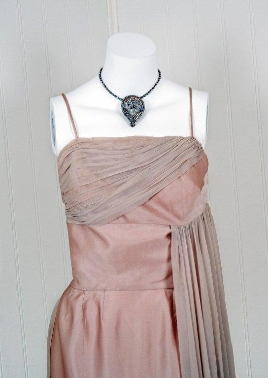Brown 1950's Edward Abbott Champagne Silk-Chiffon & Satin Draped Gown For Sale
