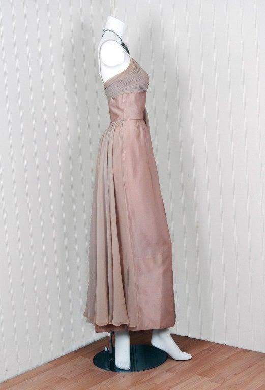 Women's 1950's Edward Abbott Champagne Silk-Chiffon & Satin Draped Gown For Sale