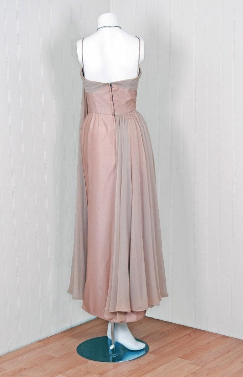 1950's Edward Abbott Champagne Silk-Chiffon & Satin Draped Gown For Sale 1