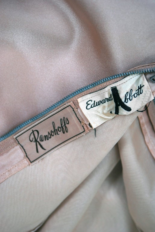 1950's Edward Abbott Champagne Silk-Chiffon & Satin Draped Gown 6