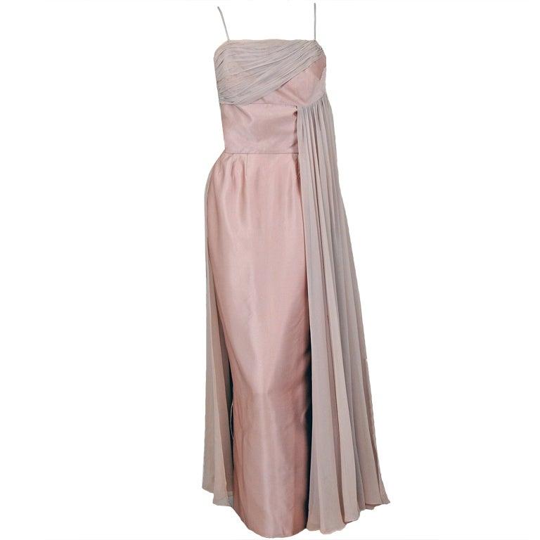 1950's Edward Abbott Blush Champagne Silk-Chiffon & Satin Draped Gown For Sale