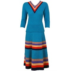 Colorful Metallic Hand-Knit Rainbow Stripe Swing Sweater Dress Ensemble, 1940s