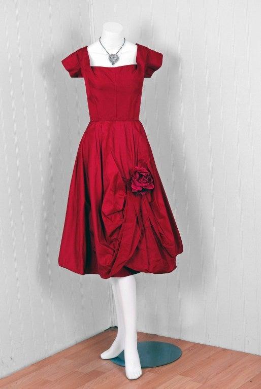 1950's Elegant Magenta-Pink Silk Asymmetric-Drape Cocktail Dress 2