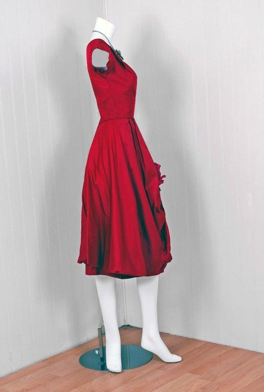1950's Elegant Magenta-Pink Silk Asymmetric-Drape Cocktail Dress 3