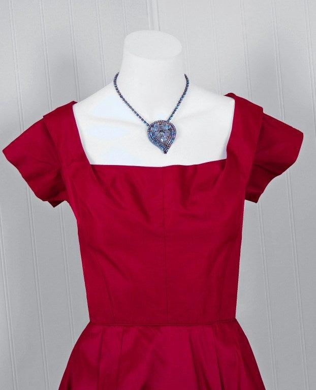 1950's Elegant Magenta-Pink Silk Asymmetric-Drape Cocktail Dress 4