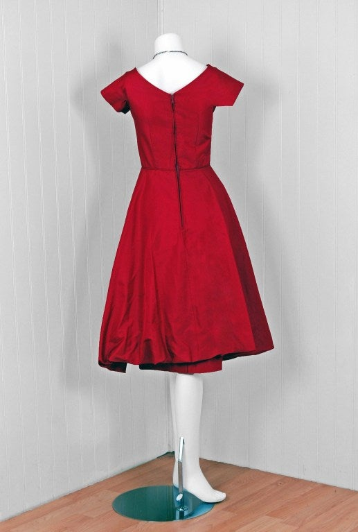 1950's Elegant Magenta-Pink Silk Asymmetric-Drape Cocktail Dress 6