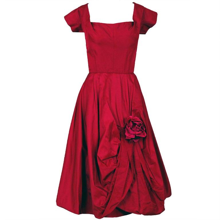 1950's Elegant Magenta-Pink Silk Asymmetric-Drape Cocktail Dress 1
