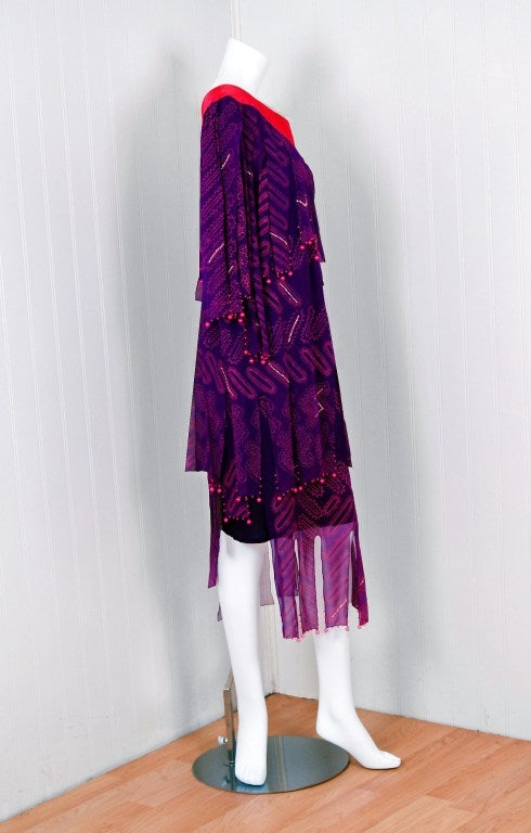 1970's Zandra Rhodes Purple Silk Hand Painted One-Shoulder Asymmetric Dress In Excellent Condition For Sale In Beverly Hills, CA