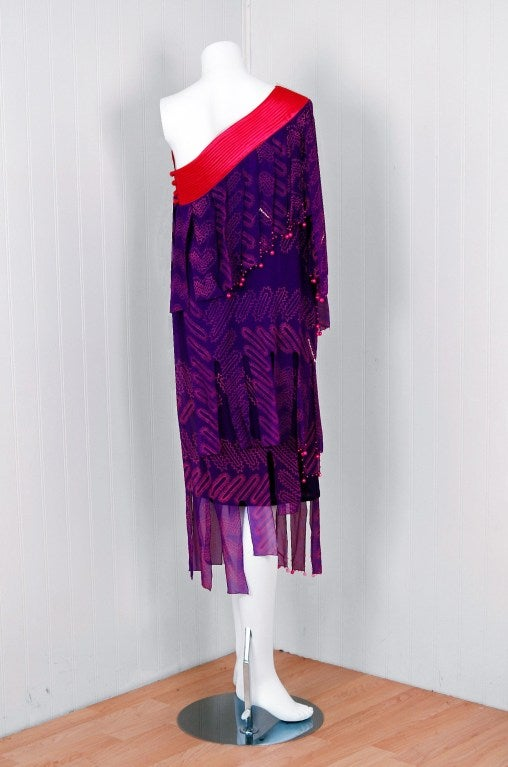 1970's Zandra Rhodes Purple Silk Hand Painted One-Shoulder Asymmetric Dress For Sale 1