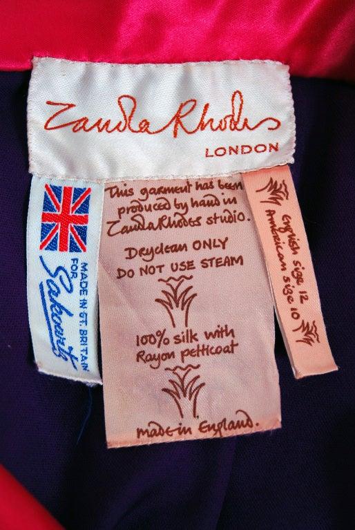 1970's Zandra Rhodes Purple Silk Hand Painted One-Shoulder Asymmetric Dress For Sale 2