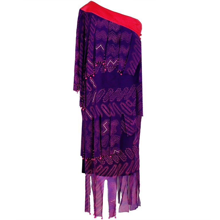 1970's Zandra Rhodes Purple Silk Hand Painted One-Shoulder Asymmetric Dress For Sale