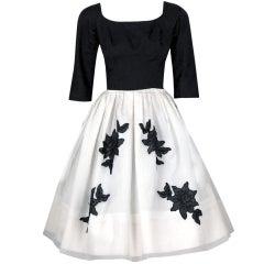 1950's Suzy Perette Black White Organza & Lace Full Party Dress