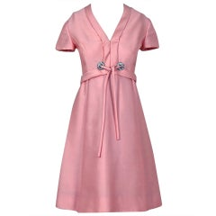 1960's Malcolm Starr Rhinestone Pink Silk-Dupioni Mod Cocktail Party Dress