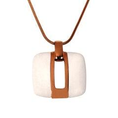 1975 Lanvin Paris Over-Sized Ivory White Large Modernist Gold Pendant Necklace