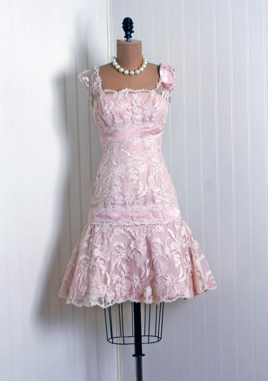 1950's Harvey Berin Pink Chantilly-Lace & Satin Shelf-Bust Fishtail Party Dress 2