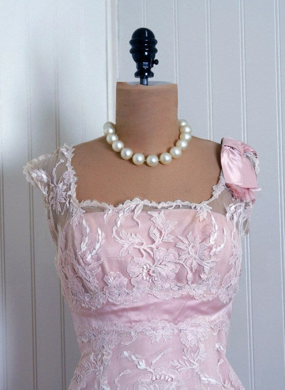 1950's Harvey Berin Pink Chantilly-Lace & Satin Shelf-Bust Fishtail Party Dress 3