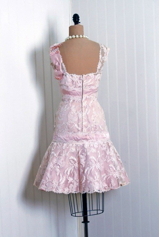 1950's Harvey Berin Pink Chantilly-Lace & Satin Shelf-Bust Fishtail Party Dress 5