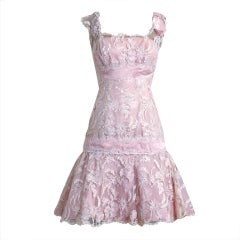1950's Harvey Berin Pink Chantilly Lace & Satin Shelf-Bust Fishtail Party Dress