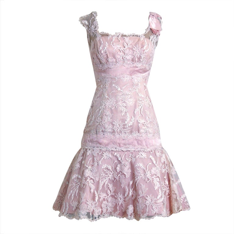 1950's Harvey Berin Pink Chantilly-Lace & Satin Shelf-Bust Fishtail Party Dress 1