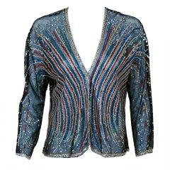 1970's Halston Sequin Fireworks Sheer Mesh-Net Cardigan Jacket
