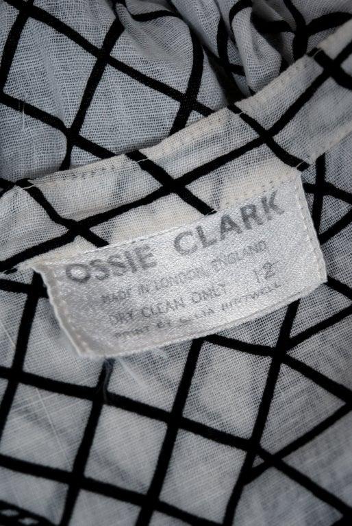 1970's Ossie Clark Black White Deco-Print Celia Birtwell Blouse 3