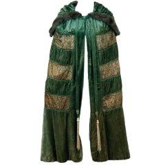 1920's Opulent Metallic Gold-Lame & Sage-Green Velvet Cape-Coat