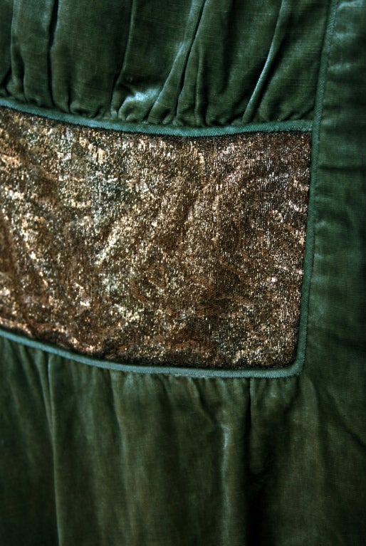 1920's Opulent Metallic Gold-Lame & Sage-Green Velvet Cape-Coat 4
