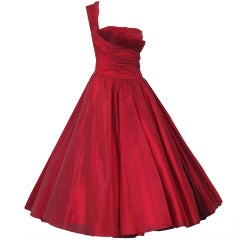 1950's Fred Perlberg Cherry-Red Silk One-Shoulder Party Dress