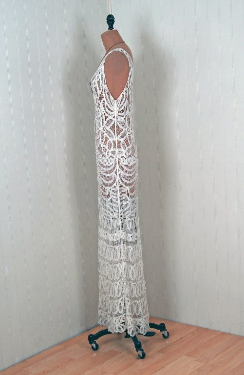 1920's Ethereal Crisp-White Battenburg Lace Flapper Gown 5