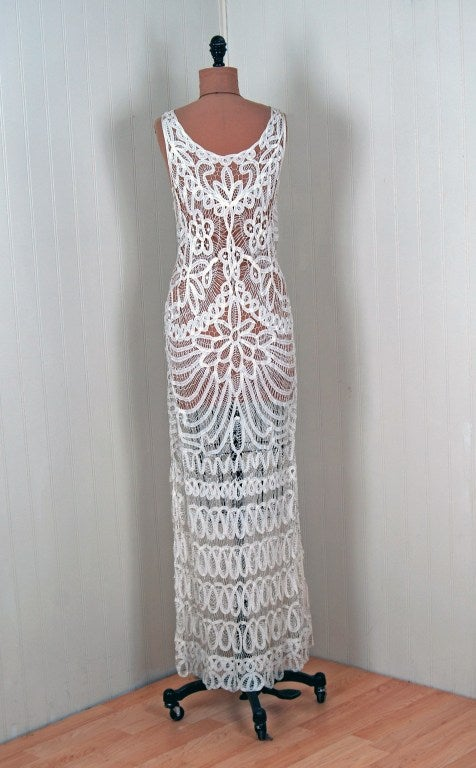 1920's Ethereal Crisp-White Battenburg Lace Flapper Gown 6