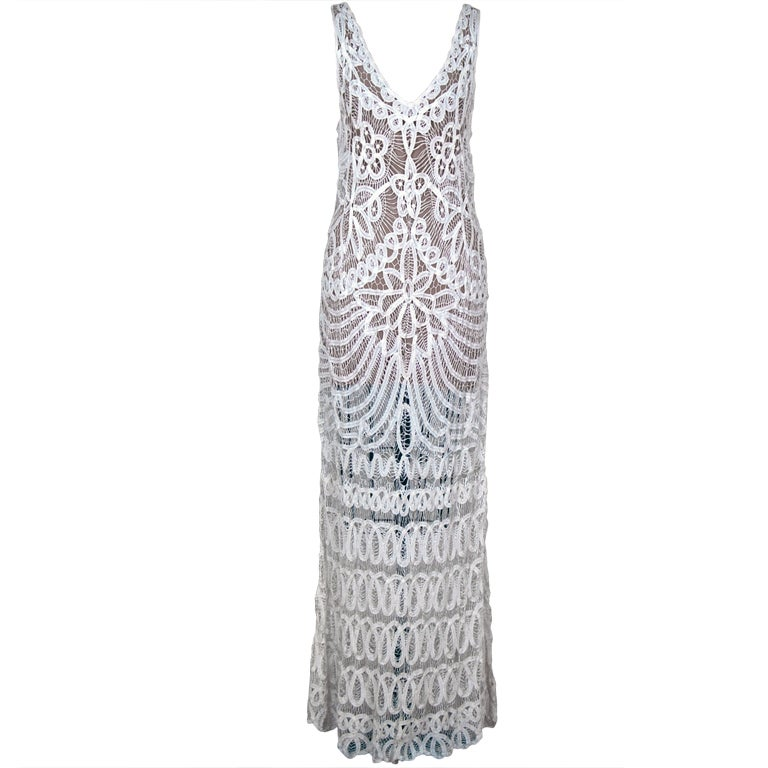 1920's Ethereal Crisp-White Battenburg Lace Flapper Gown 1