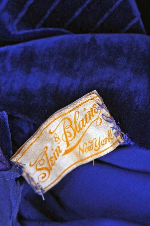 1920's Sapphire-Blue Velvet & Lace Evening Flapper Dress 3