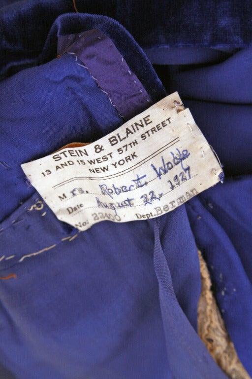 1920's Sapphire-Blue Velvet & Lace Evening Flapper Dress 4
