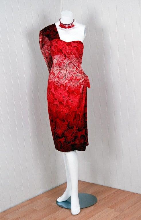 1950's Alfred Shaheen Hawaiian Red-Ombre Wiggle Sarong Dress 2