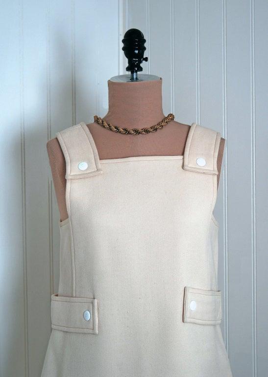 Beige 1966 Courreges Hyperbole Couture Ivory Wool Space-Age Mod Mini Jumper Dress For Sale