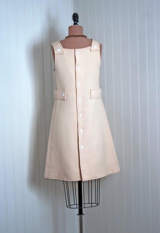 Women's 1966 Courreges Hyperbole Couture Ivory Wool Space-Age Mod Mini Jumper Dress For Sale