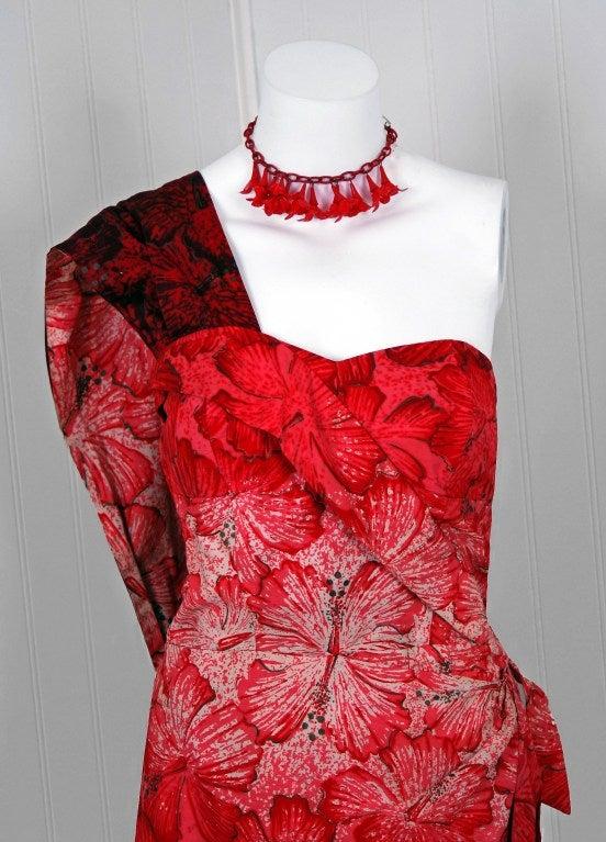 1950's Alfred Shaheen Hawaiian Red-Ombre Wiggle Sarong Dress 3