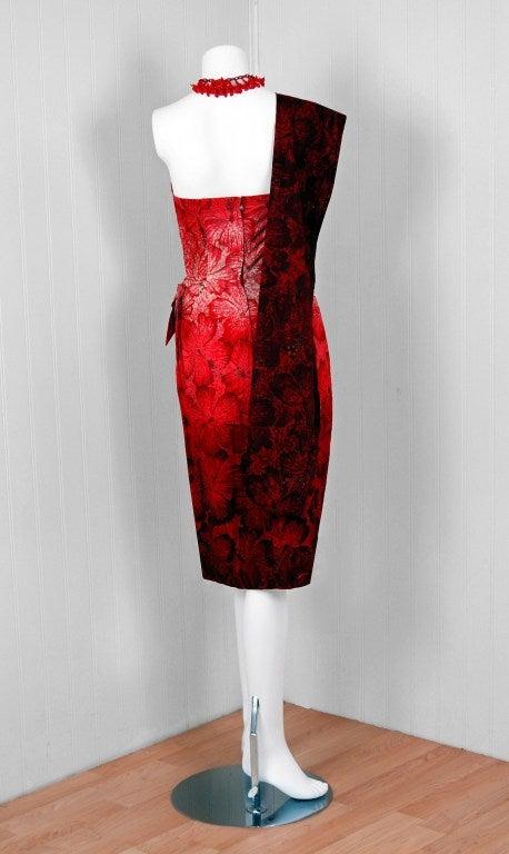 1950's Alfred Shaheen Hawaiian Red-Ombre Wiggle Sarong Dress 5